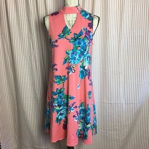 Aryeh Peach & Blue Floral Dress Size Small